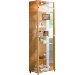 2 Glass Door Display Cabinet - Light Oak Effect