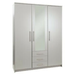 Normandy 3 Door 3 Drawer Mirrored Wardrobe - Grey