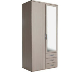 Hallingford 2Dr 3Drw Mirror Wardrobe - Light Oak