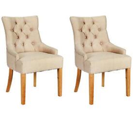 Heart Of House Cherwell 2 Button Velvet Chairs - Cream