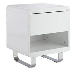 Hygena Sleigh 1 Drawer End Table - White Gloss