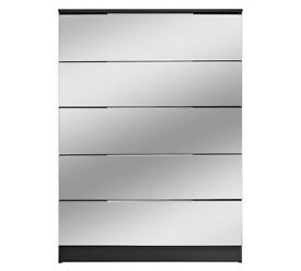 HOME Sandon 5 Drawer Chest - Black and Mirrored