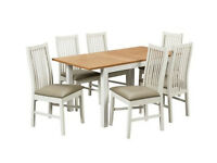 Home Clifton Oak Effect Table and 6 Chairs - White