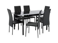 Hygena Lido Extendable Glass Table & 6 Chairs - Black