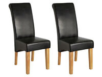 Collection 2 Black Leather Effect Scrollback Chairs