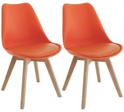 Habitat Jerry Pair Of Dining Chairs   Orange