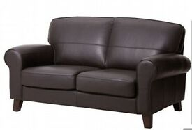 IKEA EKTORP Brown Leather two Seater Sofa + complete cotton cover