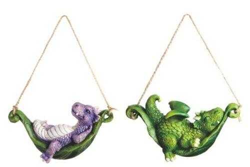 """Hammock Swinging Dragon 79138 Set of 2 Mini Ornament Resin 4"""" L Purple Green"""