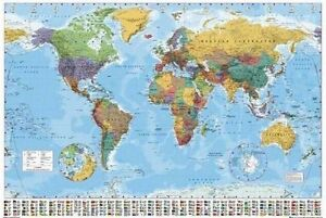 WORLD-MAP-Poster-MAP-Full-Size-24x36-Inch-Print-Flag-Index-Capital-Cities