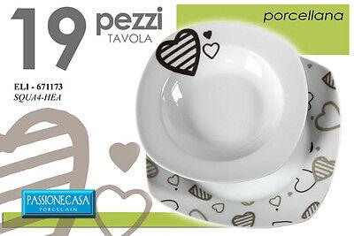 SERVIZIO PIATTI QUADRATO PORCELLANA BIANCA CUORE 38 PEZZI ELI-671173