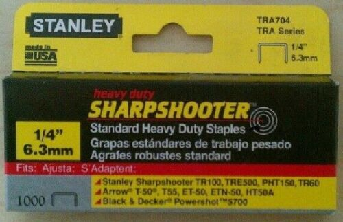 "Stanley 1/4"" TRA704 Heavy Duty Staples - (1000 Count Box)"