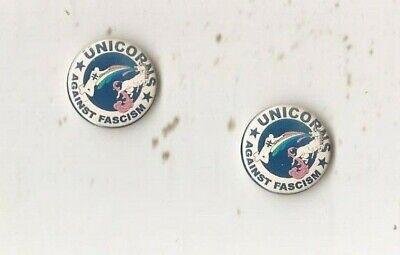 1x Unicorns against fascism Button Punk Anti Nazi, 25 mm