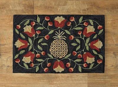 New Primitive Country Folk Art PINEAPPLE FLOWER Black Wool Hooked Rug Floor Mat