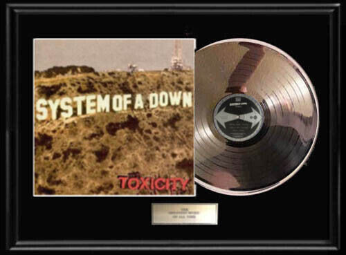 SYSTEM OF A DOWN TOXICITY LP DISC WHITE GOLD SILVER METALIZED VINYL RECORD RARE