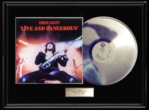 THIN LIZZY LIVE &  DANGEROUS FRAMED LP  WHITE GOLD SILVER METALIZED RECORD RARE