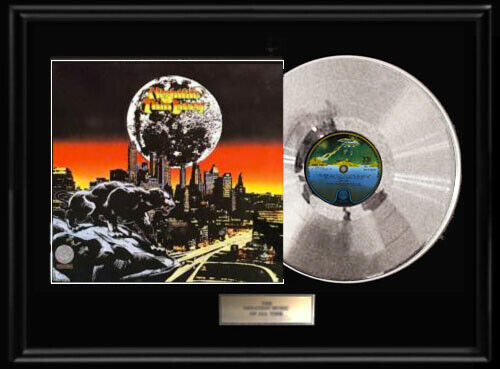 THIN LIZZY NIGHTLIFE FRAMED LP  WHITE GOLD SILVER METALIZED RECORD RARE