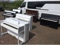 Modern white upright piano by Gulbranson