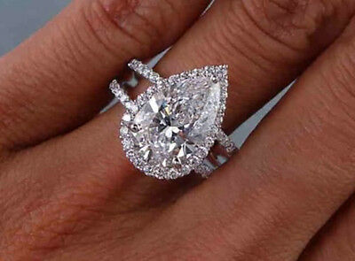 2.70 TCW Pear Cut Halo U-Prong Pave Diamond Engagement Ring - GIA Certified