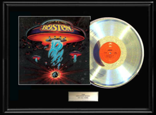 BOSTON SELF TITLED DEBUT WHITE GOLD SILVER METALIZED RECORD LP RARE NON RIAA