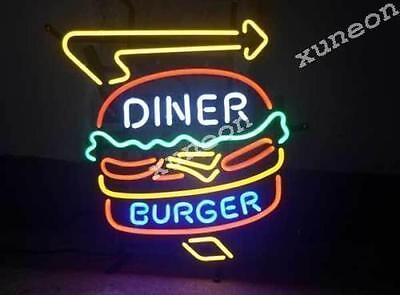 19x15 Diner Hamburger Burger Hot Dog Fast Food Restaurant Neon Sign Bar Light