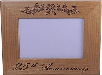 25th Anniversary - 4x6 Inch Wood Picture Frame - Great Anniversary gift for frie 25th Anniversary Picture Frame