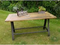Beautiful NEW Industrial Black Metal and Wood Kitchen Dining Table UK Delivery