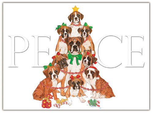 Boxer Christmas Cards Set of 10 cards & 10 envelopes