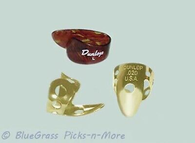 DUNLOP PICK SET - Large Thumb, Brass Fingerpicks .020, Banjo Dobro Steel Guitar Large Thumb Pick