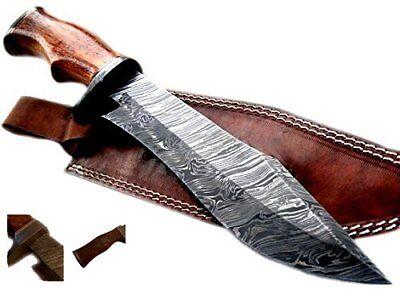 Nescole 14 inch Bowie Knife- Handmade Damascus Knife- Decora