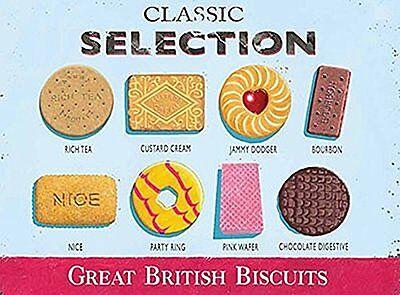 Clásico Selección Gran Bretaña Galletas Letrero De Acero Grande 400mm x 300mm
