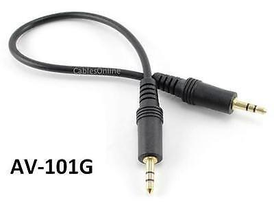 1ft 3.5mm Stereo Male to Male Plug Gold-Plated Audio Cable, CablesOnline AV-101G