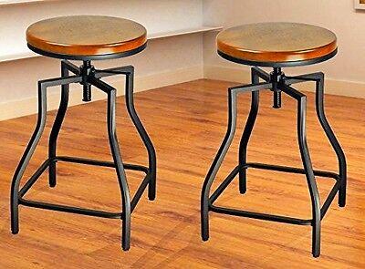 Metal Black Counter Stools - eHemco 24-29'' Adj Metal Bar/Counter Stools w/Wood Veneer Seat -Set of 2