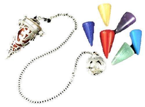 Golden Cage Metal Pendulum with Choice of Natural Stone Pendulum Dowsing Reiki