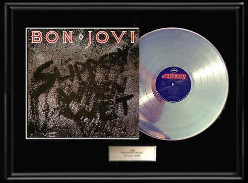 BON JOVI SLIPPERY WHEN WET WHITE GOLD SILVER PLATINUM TONE RECORD ALBUM RARE