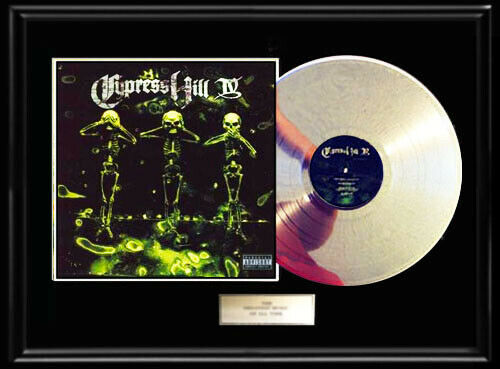CYPRESS HILL IV RARE WHITE GOLD SILVER PLATINUM TONED RECORD ALBUM VINYL LP