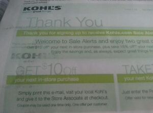10  Kohls coupons $10 off $10 in-store purchases -exp  5/25