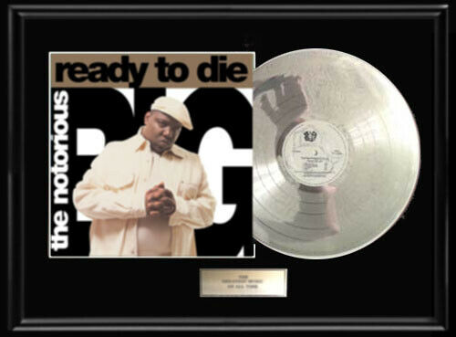 NOTORIOUS BIG B.I.G. WHITE GOLD SILVER PLATINUM TONED RECORD READY TO DIE LP