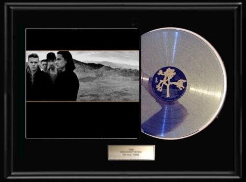 U2 JOSHUA TREE RARE FRAMED ALBUM WHITE GOLD SILVER PLATINUM TONE RECORD LP