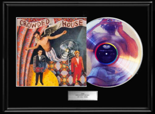 CROWDED HOUSE DEBUT WHITE GOLD SILVER PLATINUM TONE RECORD 1ST LP NON RIAA AWARD