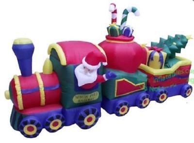 12 Foot Santa North Hop-pole Train Airblown Inflatable Christmas Yard Decoration