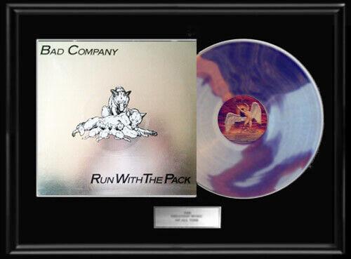 BAD COMPANY RUN WITH THE PACK  WHITE GOLD SILVER PLATINUM TONE RECORD LP  RARE