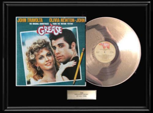 GREASE OLIVIA NEWTON JOHN TRAVOLTA LP WHITE GOLD SILVER METALIZED RECORD ALBUM