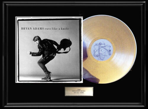 BRYAN ADAMS CUTS LIKE A KNIFE ALBUM FRAMED LP WHITE GOLD SILVER RECORD RARE