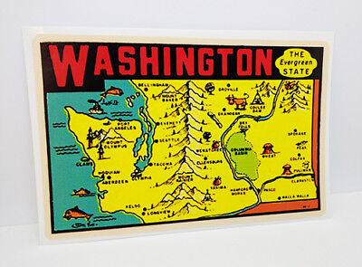 State of Washington Vintage Style Travel Decal, Vinyl Sticker, luggage label