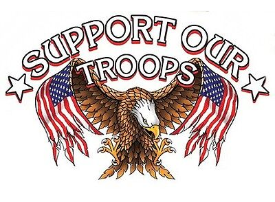 SUPPORT OUR TROOPS Patriotic USA Flag BALD EAGLE MILITARY STICKER Locker DECAL