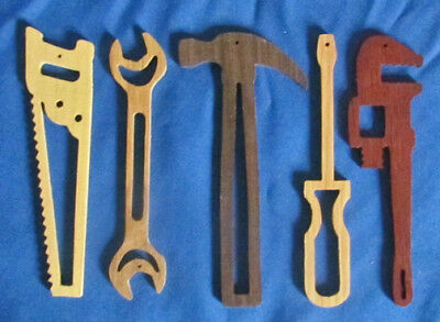Wholesale Lot - Closely Tools Christmas Ornaments - Set of 5 - hand cut - Lot of 12