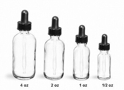 Boston Round CLEAR Glass Dropper Bottles 2 oz (60 ml) (Lot of 48)