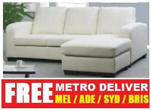 WHITE EDEN LEATHER 3 SEATER SOFA LOUNGE COUCH / CHAISE