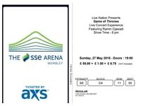 Selling 1 ticket for Game of Thrones Live Concert Experience at Wembley Arena