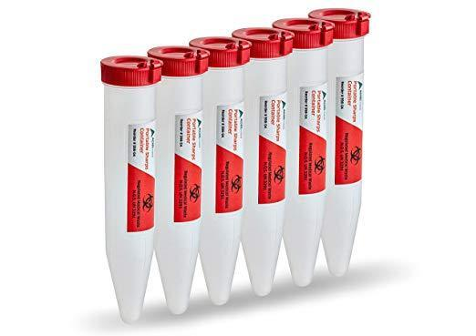 AdirMed 6-Pack Sharps & Needle Biohazard Disposal Locking Container